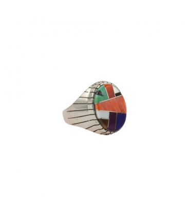 Big Multicolored Zuni oval Signet Ring, women and men