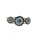 "MULTI ""SUN"" ZUNI CUFF by Marisa Selecion, Multi Stones ON SILVER 925"