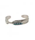 Bracelet Amérindien Navajo, femme, Plume, Argent, Turquoise