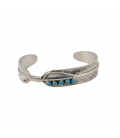 Native American Navajo Feather Bracelet for Woman, Silver and Turquoise