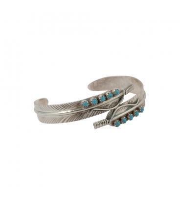 Bracelet Amérindien Navajo, femme, Double Plume, Argent, Turquoise