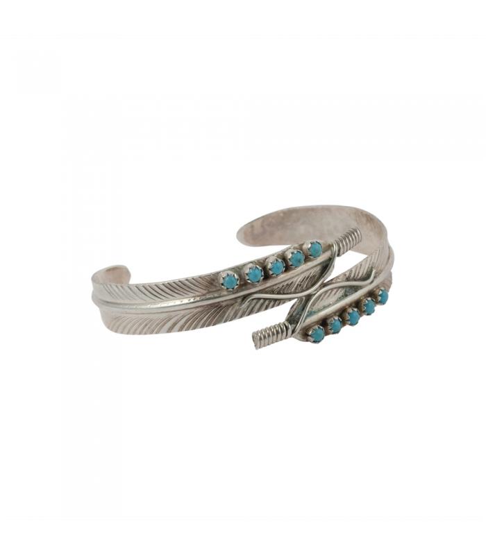 double bracelet plume femme navajo argent turquoise pour femme. Black Bedroom Furniture Sets. Home Design Ideas