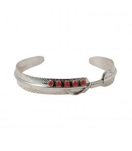 Bracelet Amérindien Navajo, femme, Plume, Argent, Multi pierres, pour femme ou enfant