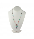 NATIVE AMERICAN LIQUID SILVER CONCHO NECKLACE, SILVER AND MULTICOLORED STONES, WOMEN AND KIDS