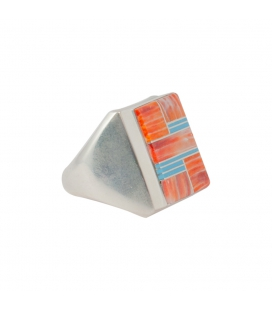 CHEVALIERE RECTANGLE ARGENT ET MULTI PIERRES, AMERINDIEN ZUNI, HOMME OU FEMME