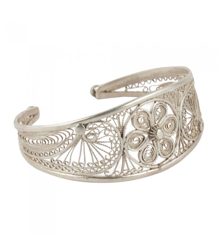 Bijoux Argent Filigrane : Bracelet berb?re large femme en filigrane d argent ligne