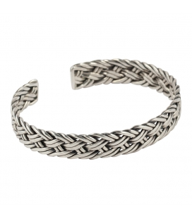 BERBER BRAID CUFF, SILVER, FOR WOMEN AND MEN