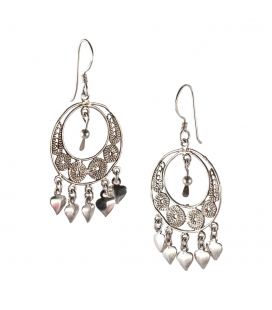 Big Berber Earrings, Embroidered Silver, women and girls