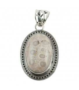 OVAL PENDANT, SILVER AND FOSSIL CORAL, INDIAN COLLECTION, FOR WOMEN