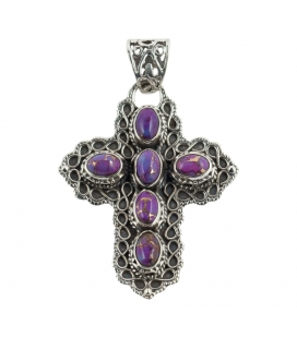 CROSS PENDANT, FROM INDIA, SILVER AND PURPLE COPPER TURQUOISE,