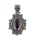 INDIAN PENDANT, SILVER AND AMETHYST, FOR WOMEN,