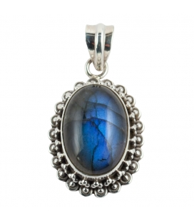 OVAL PENDANT, SILVER AND LABRADORITE, INDIAN COLLECTION, FOR WOMEN