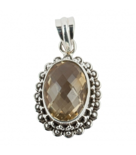 OVAL PENDANT, SILVER AND FACETED CITRINE, INDIAN COLLECTION, FOR WOMEN