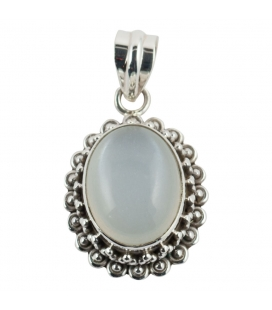 OVAL PENDANT, SILVER AND MOOSTONE, INDIAN COLLECTION, FOR WOMEN