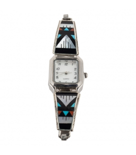 NATIVE AMERICAN WATCH, SILVER AND MULTI STONES, WOMEN AND GIRLS