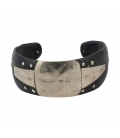 WOMAN AFRICAN SILVER AND BLACK HORN BRACELET