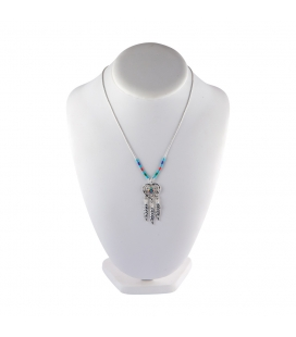 """Liquid Silver"" necklace. Mulicolored heart and Silver feathers, for women and girls."