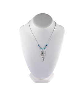 Liquid Silver necklace. Rectangle pendant and Silver feathers, for women and girls.