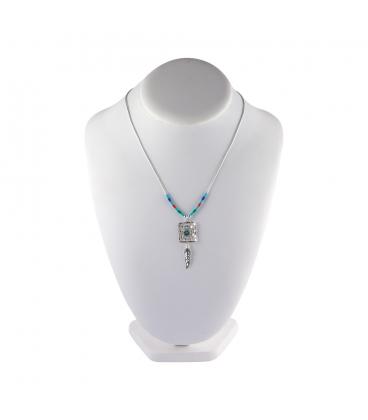 """Collier """"Liquid Silver"""", pendentif rectangle et plumes, pour femme et enfant."""