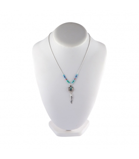 """Liquid Silver"" necklace. Thunderbird Silver pendant and multi stones, for women and girls."