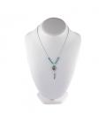 """Collier """"Liquid Silver"""", pendentif Thunderbird Argent et multi pierres, pour femme et enfant ."""