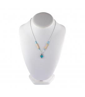 """Liquid Silver"" necklace. Turquoise square pendant and Bamboo for women and girls."