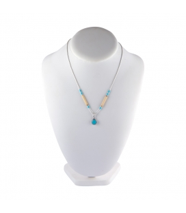 """Liquid Silver"" necklace. Turquoise round pendant and Bamboo for women and girls."
