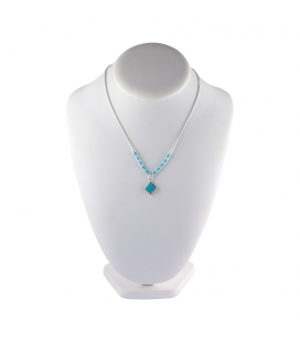 """Liquid Silver"" necklace. Turquoise square pendant, for women and girls."