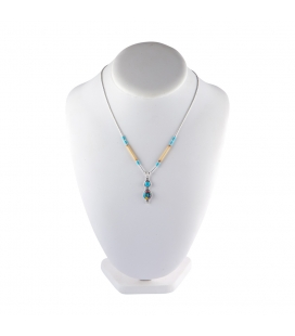 Liquid Silver necklace. Double pendant :Zuni multicolored and Turquoise, for women and girls.