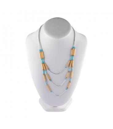 """Collier """"Liquid Silver"""", 3 rangs, Turquoise et Bambou, pour femme et enfant."""