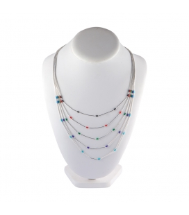 """Liquid Silver"" multicolored 5 rows necklace for women and girls."