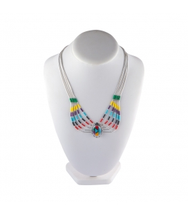 """Liquid Silver"" necklace. 5 multicolored rows, Zuni Silver and stones pendant,for women and girls ."