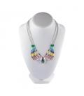 """Collier """"Liquid Silver"""", 5 rangs multicolores, médaillon Zuni Argent et pierres,pour femme"""