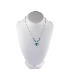 """Collier """"Liquid Silver"""", médaillon Zuni coeur multicolore, pour femme et enfant"""