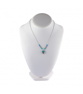 """Liquid Silver"" necklace. Zuni multicolored pendant,for women and girls ."