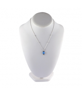 """Liquid Silver"" necklace. Square Opal pendant ,for women and girls ."