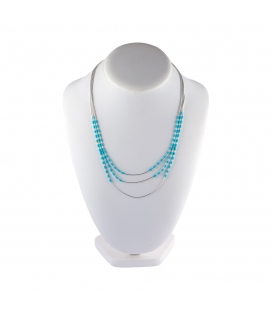 """Liquid Silver"" 3 rows necklace. Silver and Turquoise ,for women and girls ."
