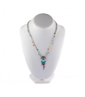 """Collier """"Liquid Silver"""", 5 rangs multicolores, médaillon Zuni coeur et pampilles, pour femme et enfant."""