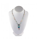 """""""Liquid Silver"""" 5 multicolored rows necklace. Zuni heart pendant ,for women and girls ."""