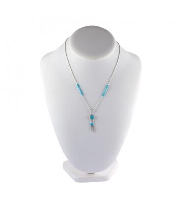 """Collier """"Liquid Silver"""" , pendentif rond Turquoise et plumes. Pour femme et enfant ."""