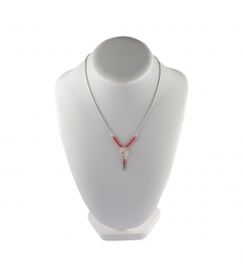 """Liquid Silver"" necklace. Mini Dream Catcher, Silver and Coral ,for women and girls ."