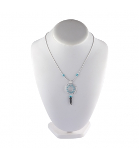 """Liquid Silver"" necklace. Big Dream Catcher, Silver and Turquoise ,for women and girls ."