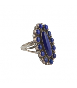 "RING ""FLOWER"" WOMEN AND SILVER LAPIS LAZULI, BY NATIVE AMERICAN NAVAJO RICHARD JIM"