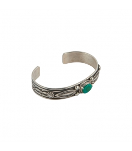 NAVAJO CUFF, STAMPED SILVER 925 AND KINGMAN TURQUOISE, BY A.JAKE, FOR MEN AN WOMEN