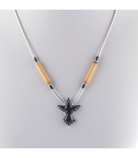 """Liquid Silver"" necklace. Onyx Thunderbird and Bamboo ,for women and girls ."