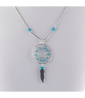 """""""Liquid Silver"""" necklace. Big Dream Catcher, Silver and Turquoise ,for women and girls ."""