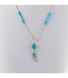 """""""Liquid Silver"""" necklace. Round Turquoise pendant and feathers ,for women and girls ."""
