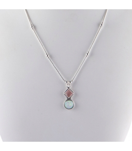 """Liquid Silver"" necklace. Double pendant with Opal and Shell,f or women and girls ."