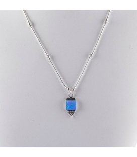 """""""Liquid Silver"""" necklace. Square Opal pendant ,for women and girls ."""