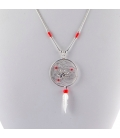 """""""Liquid Silver"""" necklace. Silver Dream Catcher with spider,for women and girls ."""
